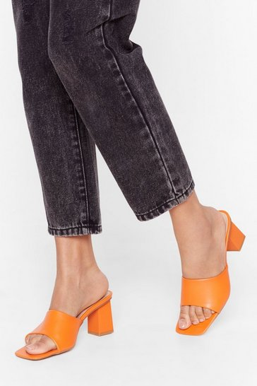 Orange You've Got Sole Faux Leather Heeled Mules