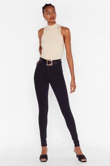 Black Long High Waisted Skinny Jeans