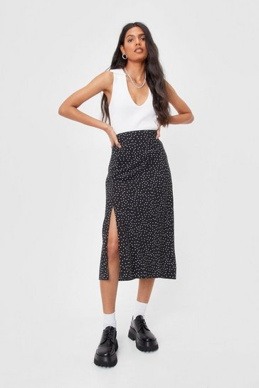Black Slit Ruffle Midi Skirt with Spotty Print