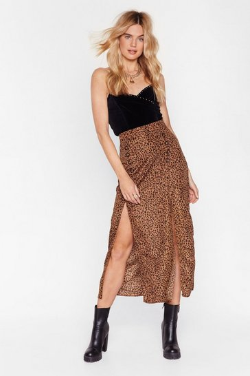 Tan Let's Work this Meow-t Leopard Midi Skirt