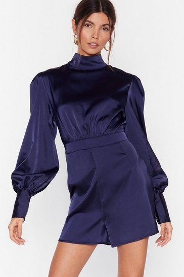 Navy High Neck Satin Romper with Puff Shoulders
