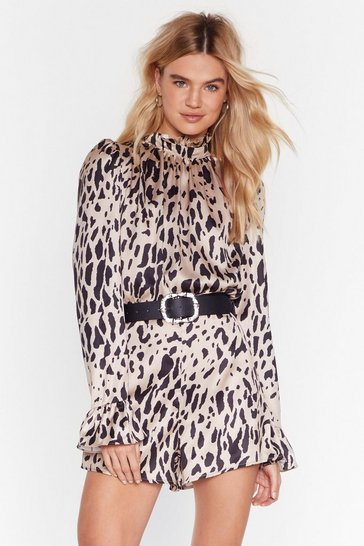 Champagne Dreams Run Wild Satin Leopard Playsuit