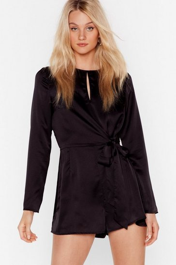 Black Satin Romper with Bow Tie Closure at Front