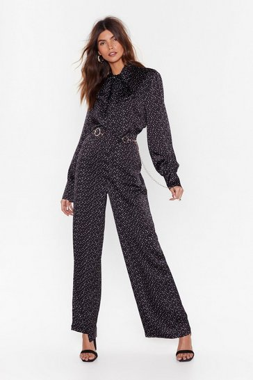 Black High-Waisted Polka Dotted Wide-Leg Pants