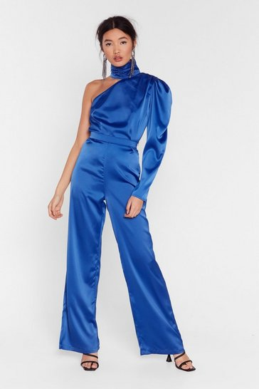 Blue Let It Satin High-Waisted Wide-Leg Trousers
