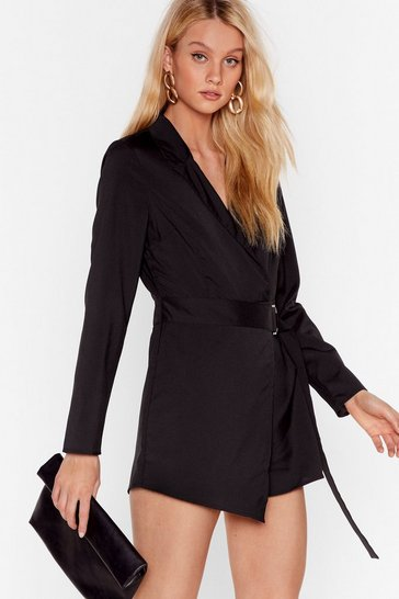 Black Don't Worry About a Ring Tailored Belted Romper