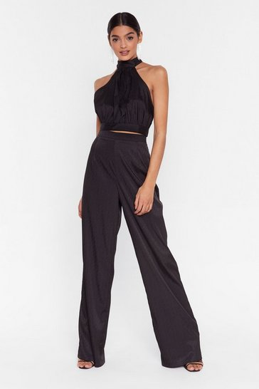 Black Makin' a Grand Entrance Satin Wide-Leg Pants