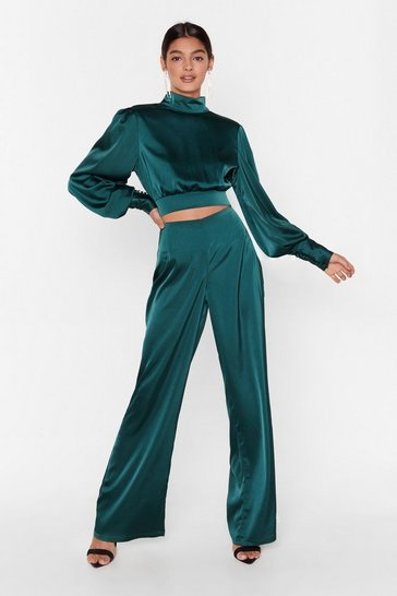 Womens Emerald Satin Fever Wide-Leg High-Waisted Pants