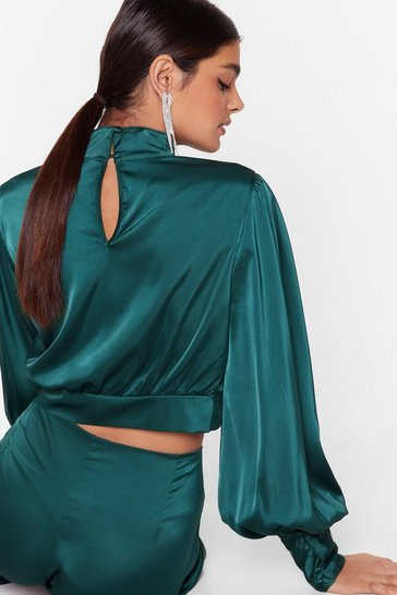 Emerald Satin Fever Balloon Sleeve Cropped Blouse