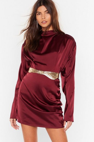 Burgundy In a Ruche Satin High Neck Blouse