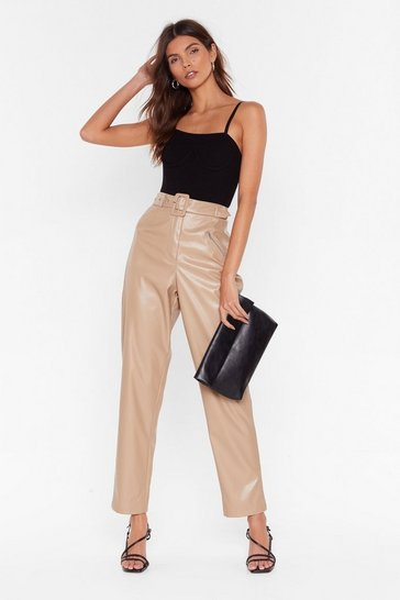 Beige Faux Leather Gonna Let You Down Belted Pants