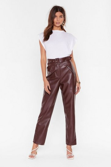 Womens Chocolate Faux Leather Gonna Let You Down Belted Pants