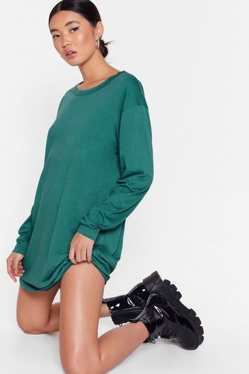Teal Crew 'Em Oversized Tee Dress