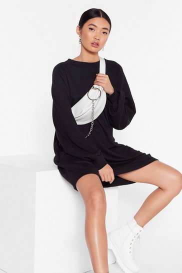Black Break a Sweat Oversized Sweatshirt Dress