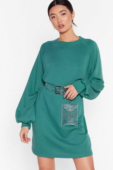 Teal Break a Sweat Oversized Sweatshirt Dress