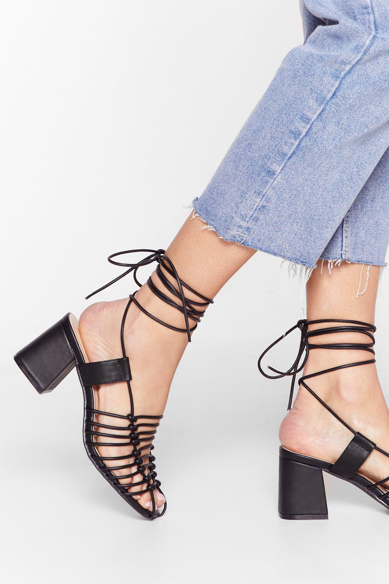 Strappy Times Faux Leather Heeled Sandals | Nasty Gal