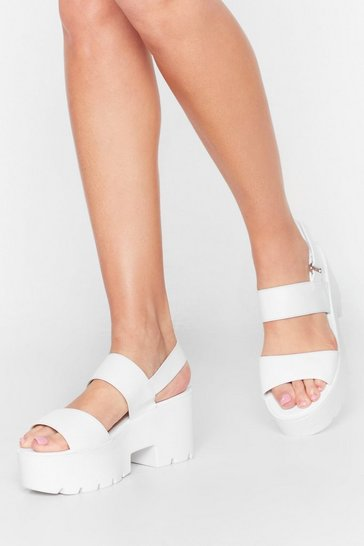White Land on Your Own Two Cleat Platform Sandals