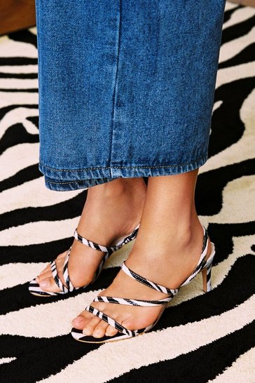 White Can't Tame Us Zebra Strappy Heels