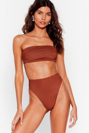 Brown Recycled Suns Out High-Leg Bikini Bottoms