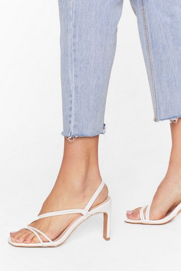 White We're Strappy Together Faux Leather Heels