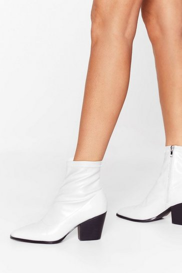 White Step On Up Western Ankle Boots
