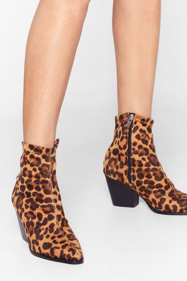 Brown You Cat Do That Leopard Ankle Boots
