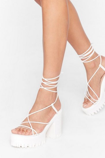 White Fall at Your Feet Strappy Platform Heels