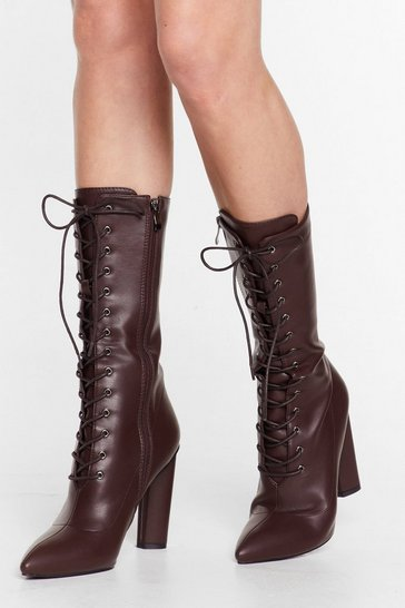 Chocolate Pantent faux leather victorian lace up boots