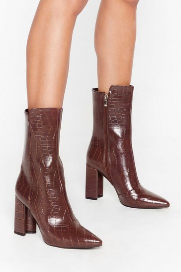 Chocolate Don't Croc Me Now Faux Leather Cut-Out Boots