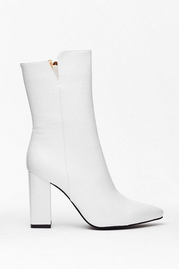 White Faux Leather High Ankle Boots with Croc Embossed Design