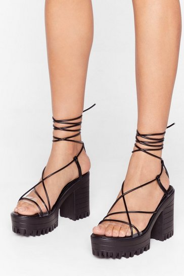 Black Skinny strap cleated heeled sandals