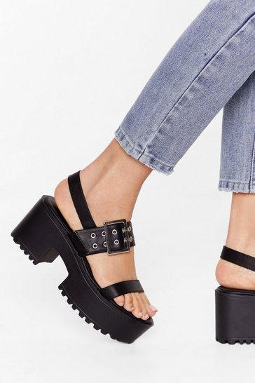 Black Off You Buck-le Faux Leather Studded Sandals
