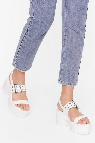 White 2 Part Faux Leather Flatform Sandals