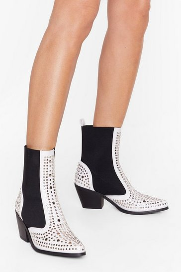 White One Point Perspective Studded Chelsea Boots