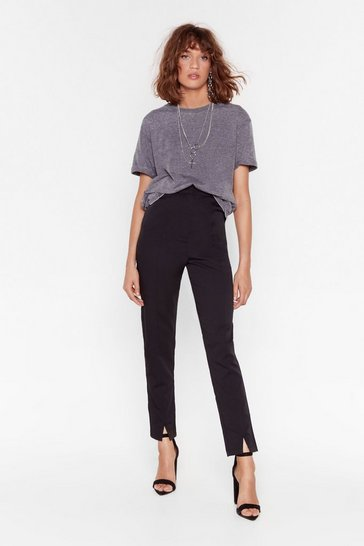 Black Split the Cheque High-Waisted Tapered Pants