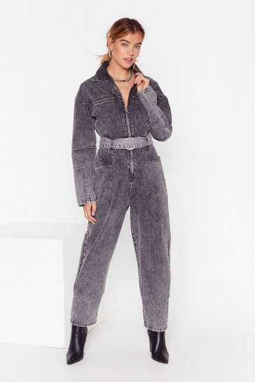 Washed black Wash Who You're Talkin' To Denim Boilersuit
