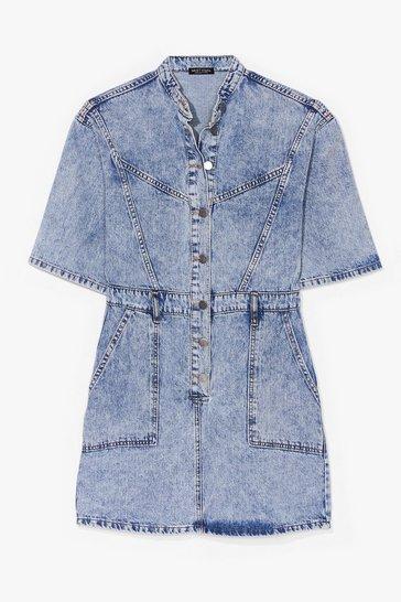 Vintage blue Acid Wash 'n' Learn Denim Mini Dress