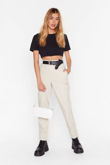 Ecru High-Waisted Denim Jeans with Seam Detailing
