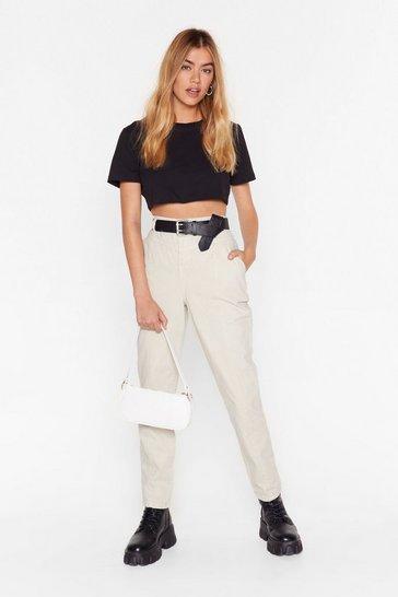 Ecru High-Waisted Denim Jeans with Seam Detailing
