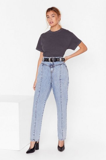 Vintage blue High-Waisted Denim Jeans with Seam Detailing