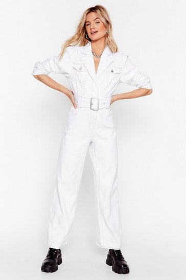 White Wash Your Back Belted Denim Boilersuit