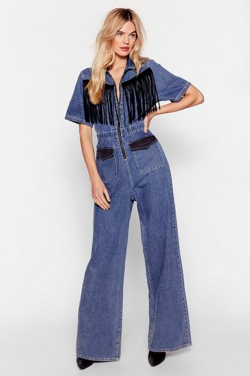 Blue On Our West Behavior Denim Fringe Jumpsuit