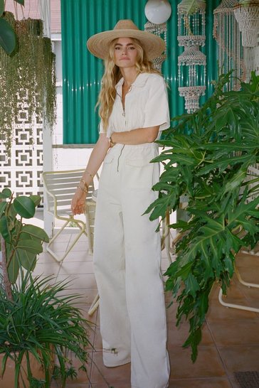 Ecru On Our West Behavior Denim Fringe Jumpsuit