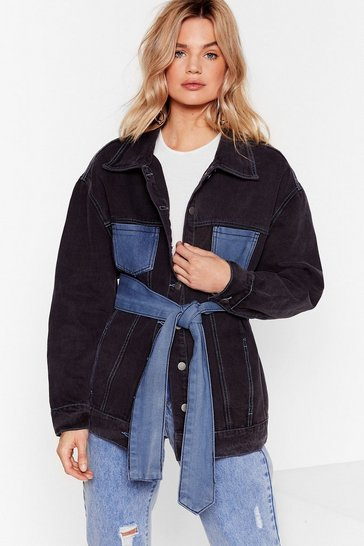 Black Two-Tone Us Up Belted Denim Jacket