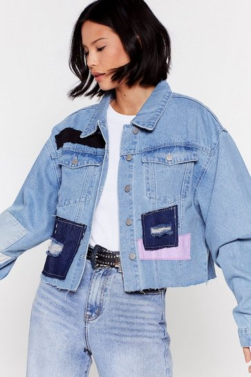 Blue Not Got a Patch on You Oversized Denim Jacket