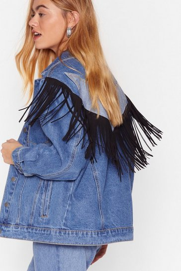 Blue Come Hang With Us Fringe Denim Jacket