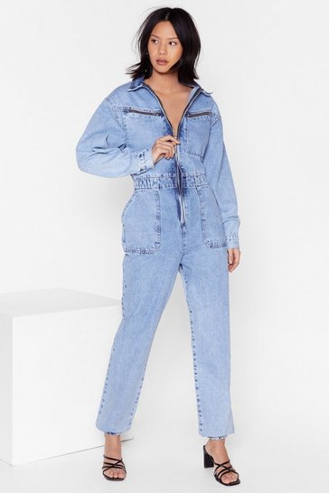 Blue Acid Wash Zip Coveralls with Elasticized Waist