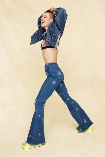 Dark blue Written in the Stars High-Waisted Flare Jeans
