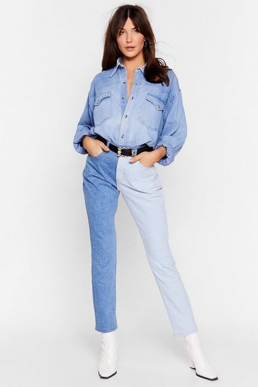 Blue Best of Both Worlds Two-Tone Mom Jeans