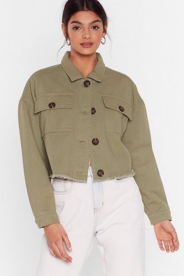 Khaki Nothing's Gonna Crop Us Now Denim Utility Jacket